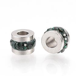 Perles de strass en 304 acier inoxydable, colonne, émeraude, 7x5mm, Trou: 3mm(RB-R052-03)