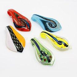 Gros pendentifs en verre dichroique manuels, goutte , couleur mixte, 59~63x29~34x6~9mm, Trou: 7~8mm(DICH-X0001)