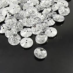 boutons en strass acrylique, 2-trou, facettes et dos plaqué argent, plat rond, effacer, 30x8 mm, trou: 2 mm(X-BUTT-A013-48L-01)