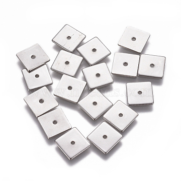 304 Stainless Steel Spacer Beads, Square, Stainless Steel Color, 8x8x0.7mm, Hole: 1.2mm(STAS-G200-03B-P)