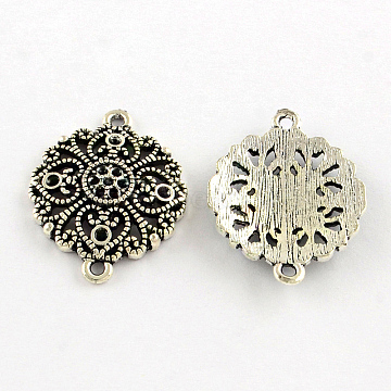 Tibetan Style Flower Alloy Cabochon Connector Rhinestone Settings, Lead Free & Cadmium Free, Antique Silver, Fit for 1~2mm Rhinestone; 30x23x4mm, Hole: 2mm; about 220pcs/1000g(TIBEP-S290-17AS-RS)