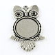 Tibetan Style Alloy Owl Pendant Rhinestone Cabochon Settings(TIBEP-Q045-038AS-RS)-1