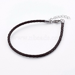 Braided Leather Cord Bracelet Making, with 304 Stainless Steel Lobster Claw Clasps and Extension Chain, Stainless Steel Color, Coconut Brown, 8-1/2 inches(21.5cm), 3mm(X-MAK-L018-05E)