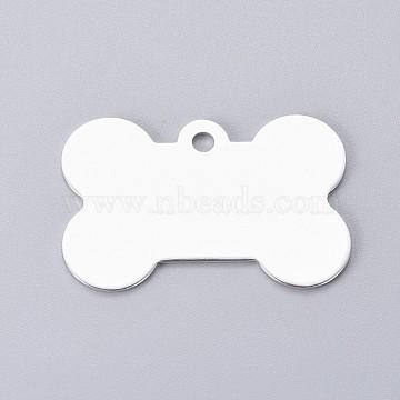 Pendentifs d'animal de compagnie en aluminium, estampillage d'une étiquette vierge, os, argenterie, 25x38x1mm, Trou: 3mm(ALUM-I002-06J)