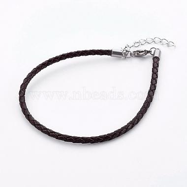 плетеный кожаный шнур браслет изготовление(X-MAK-L018-05E)-1