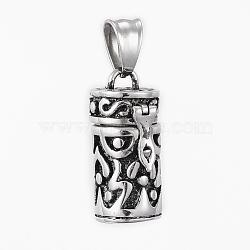 304 pendentifs de boîte de prière en acier inoxydable, colonne, argent antique, 27x13x14mm, Trou: 8.5x5mm(STAS-H405-03AS)