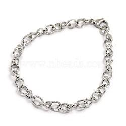 """À la mode 304 bracelets à chaîne torsadée en acier inoxydable, avec fermoir pince de homard, couleur inoxydable, 8-1/4"""" (210x6 mm)(STAS-A028-B073P)"""