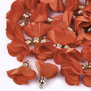 Golden OrangeRed Flower Cloth Pendants