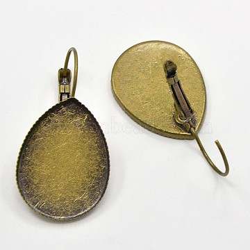 Brass Leverback Earrings Blank Base Settings Cabochon Setting, Nickel Free, Antique Bronze, Teardrop Tray: 25x18mm; 37x19x2mm; Pin: 1mm(X-KK-O002-02AB-NF)