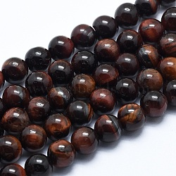 Natural Tiger Eye Bead Strands, Dyed & Heated, Round, Grade AB, 6mm, Hole: 1mm; about 62pcs/strand, 14.7inches(37.5cm)