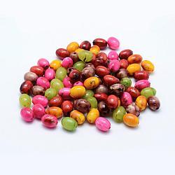 vaporisez perles acryliques drawbench peintes, ovale, couleur mélangée, 10x7.5 mm, trou: 1 mm; environ 1400 pcs / 500 g(MACR-K331-25)