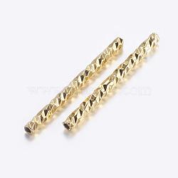 Brass Tube Beads, Tube, Faceted, Golden, 19.5x1.5mm, Hole: 0.5mm(X-KK-K197-B-35G)