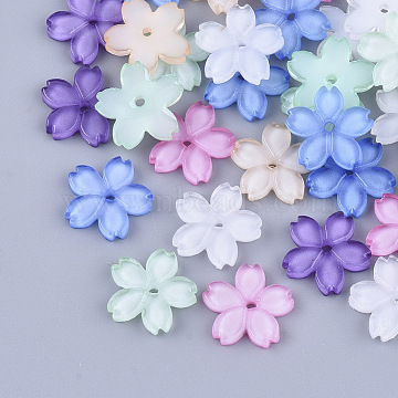 Translucent Resin Beads, for Jewelry Making, Sakura, Mixed Color, 11x11.5x2mm, Hole: 1.2mm(X-RESI-T040-023)