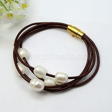 Fashion Bracelets, Cowhide Leather Cord with Freshwater Pearl Beads and Brass Magnetic Swivel Clasps, CoconutBrown, 185mm(X-BJEW-PJB347)