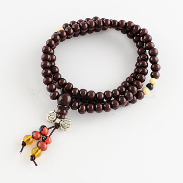 Dual-use Items, Wrap Style Buddhist Jewelry Dyed Wood Round Beaded Bracelets or Necklaces, DarkRed, 520mm(BJEW-R281-51)
