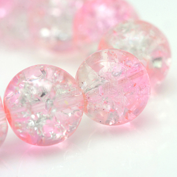 Baking Painted Crackle Glass Beads Strands, Round, Pink, 6mm, Hole: 1.3~1.6mm, about 133pcs/strand, 31.4 inches(X-CCG-S001-6mm-02)