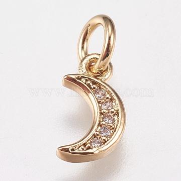 Brass Cubic Zirconia Charms, Moon, Golden, 9x5x1mm, Hole: 3.5mm(X-ZIRC-E147-59G)