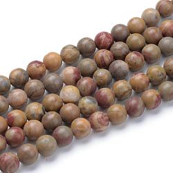 """Jaspe arc-en-ciel rouge naturel perles rondes, 8~8.5mm, trou: 1mm; environ 47 pcs/chapelet, 15.5""""(G-T055-8mm-11)"""