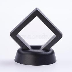Supports de cadre en plastique, avec membrane transprent, Support d'affichage à cadre flottant 3d, boîte d'affichage de pièce de monnaie, losange, noir, 51x51x54mm(ODIS-P005-01-50x50mm-B)