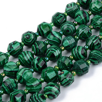 Synthetic Malachite Beads Strands, Round, Faceted, 8~9x10mm, Hole: 1.2mm; about 33~35pcs/strand, 15.16inches(38.5cm)(G-R482-28-10mm)