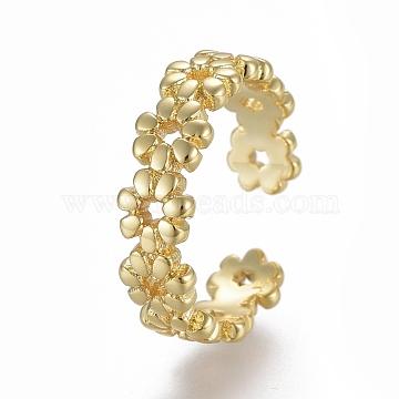 Adjustable Brass Toe Rings, Open Cuff Rings, Open Rings, Flower, Golden, Size 4, Inner Diameter: 14.5mm(RJEW-EE0002-12G)