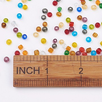 6/0 Glass Seed Beads, Transparent, Round, Mixed Color, 3.5~4x2~5mm, Hole: 1.2~1.5mm; about 450pcs/50g(X-SEED-A004-4mm)