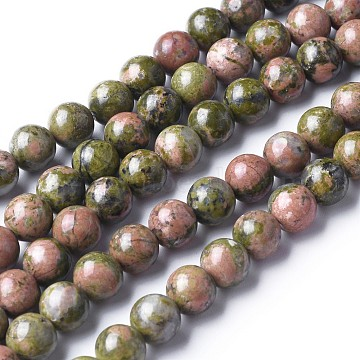 Gemstone Beads Strands, Natural Unakite Beads, Round, about 4mm in diameter, hole: about 0.8mm, 15~16 inches(X-GSR4mmC043)