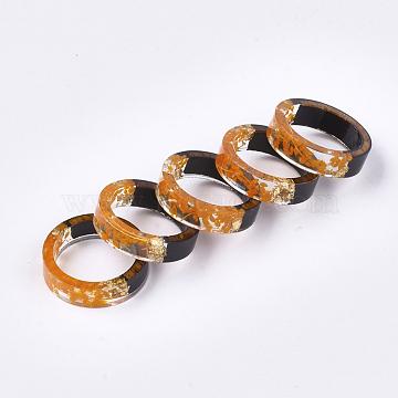 Epoxy Resin & Ebony Wood  Rings, with Dried Flower, Gold Foil, Orange, US Size 7 1/4(17.5mm)(RJEW-S043-02C-01)