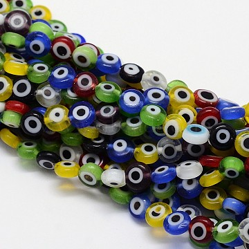 Handmade Evil Eye Lampwork Flat Round Bead Strands, Mixed Color, 6x3mm, Hole: 1mm; about 65pcs/strand, 14 inches(X-LAMP-L058-6mm-M)