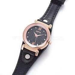 наручные часы высокого качества, кварцевые часы, Головка из сплава и ремешок из искусственной кожи, черный, 9-1 / 8 / 9-1 2 см); (23.1~24.2 мм; головка часов: 13~14x2.5~3 мм(WACH-I017-12A)