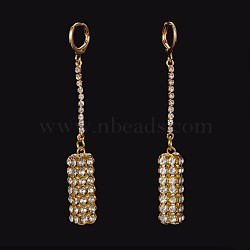 Laiton strass Dormeuses, cuboïde, or, 73mm, pin: 0.9 mm(X-EJEW-M046-02)