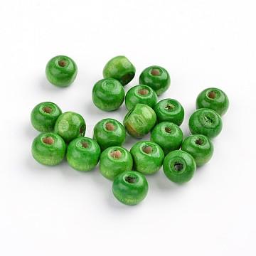 8mm Green Round Wood Beads