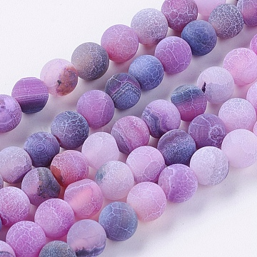 Natural Weathered Agate Beads Strands, Dyed, Frosted, Round, Dark Violet, 6mm, Hole: 1mm, about 64pcs/strand, 14.6 inches(X-G-G589-6mm-06)