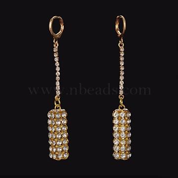 Brass Rhinestone Leverback Earrings, Cuboid, Golden, 73mm, Pin: 0.9mm(X-EJEW-M046-02)