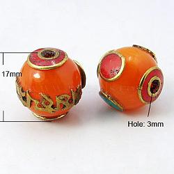 Ручной тибетском стиле бисера, с пчелиным воском, золото , круглые, оранжевые, 17 мм, отверстие : 3 мм(TIBEB-D001-7)