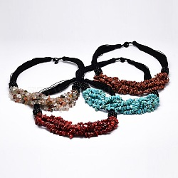 Gemstone Bib Statement Necklaces, with Waxed Cord, Natural & Synthetic Mixed Stone, 20inches(NJEW-N0014-63)