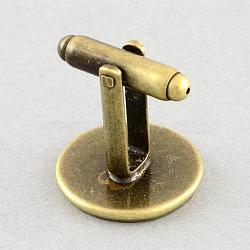 Сеттинги латунь манжеты, фурнитура запонки, аксессуары для одежды, античная бронза, лоток : 18 мм; 18.5x20 мм(X-KK-S132-18mm-KN001AB)