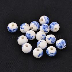 perles de porcelaine bleue et blanche à la main, arrondir, bleu, sur 10 mm de diamètre, trou: 2.5 mm(X-CF192Y)