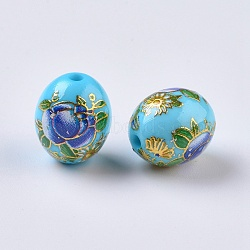 Perles rondes en verre transparent avec motif de fleur, ovale avec des fleurs, teint, cyan, 13x10.5mm, Trou: 2mm(RESI-J020-C07)