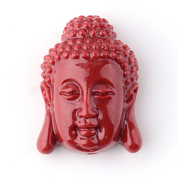 Synthetic Coral Beads, Buddha Head, DarkRed, 15.5x11x6mm, Hole: 1.5mm(X-CORA-S003-15mm-03)