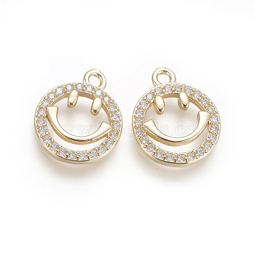 Brass Micro Pave Cubic Zirconia Charms, Smile Face, Clear, Golden, 14x11.5x2mm, Hole: 1.5mm(X-ZIRC-F102-16)