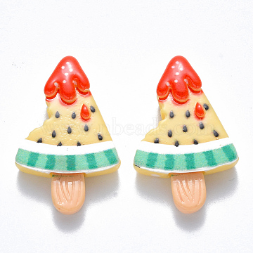 Resin Cabochons, Ice Lolly with Watermelon, Imitation Food, Champagne Yellow, 28x18x6mm(X-CRES-N024-02)