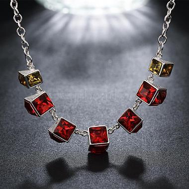 Popular Red Cuboid Resin Rhinestone Bib Necklaces(NJEW-BB00466)-3