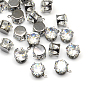 Cubic Zirconia Charms, with Brass Findings, Gunmetal, 10x9x6mm, Hole: 1mm