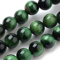 Natural Tiger Eye Beads Strands, Dyed, Round, Green, 12mm, Hole: 1mm; about 34pcs/strand, 15.7inches