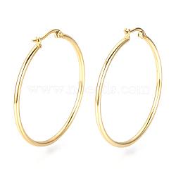 201 Stainless Steel Hoop Earrings, Golden, 12 Gauge, 52x50x2mm; Pin: 0.8mm(X-MAK-R018-50mm-G)
