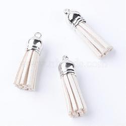 faux suède pendentif pompon décorations, avec extrémités de cordon en plastique ccb, platine, blanc crème, 58x12 mm, trou: 2.5 mm(FIND-T002-C16)