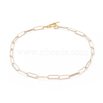 Chain Necklaces, with Iron Paperclip Chains and Alloy Toggle Clasps, Golden, 15.98 inches(40.6cm)(X-NJEW-JN02759-02)