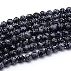 """Flocon de neige naturelle obsidienne chapelets de perles rondes, 4mm, trou: 1mm; environ 89 pcs/chapelet, 15""""(G-J303-09-4mm)"""