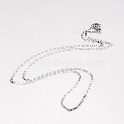 304 Stainless Steel Necklace Making, Mariner Link Chain, with Lobster Claw Clasps, Stainless Steel Color, 19.69 inches(500mm); 1.7mm(X-MAK-K062-11A-P)